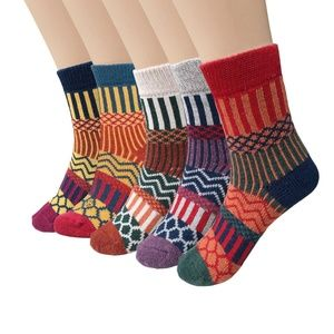 Accessories - Womens 5 Pairs Vintage Style Knitting Socks